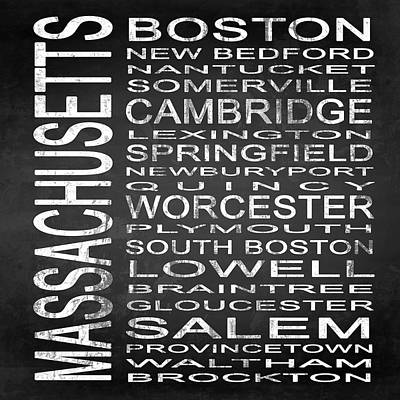 Subway Massachusetts State Square Poster by Melissa Smith