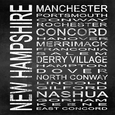 Subway New Hampshire State Square Poster by Melissa Smith