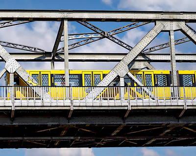 Subway Train And Bridge Poster