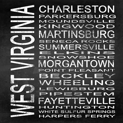 Subway West Virginia State Square Poster by Melissa Smith