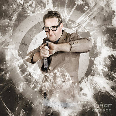 Successful Business Person Taking Aim At Target Poster by Jorgo Photography - Wall Art Gallery
