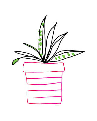 Succulent In A Pink Pot- Art By Linda Woods Poster by Linda Woods