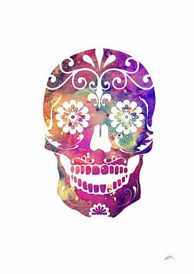 Sugar Skull 2 Watercolor Print Poster