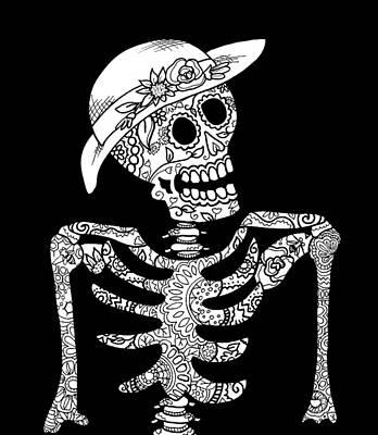 Sugar Skull Bones In Hat Poster