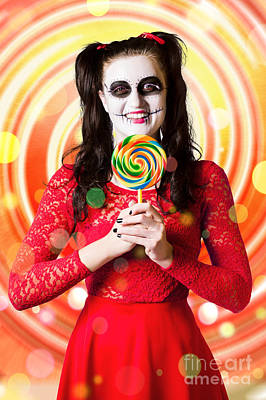 Sugar Skull Girl Holding Colourful Lollypop Candy Poster by Jorgo Photography - Wall Art Gallery