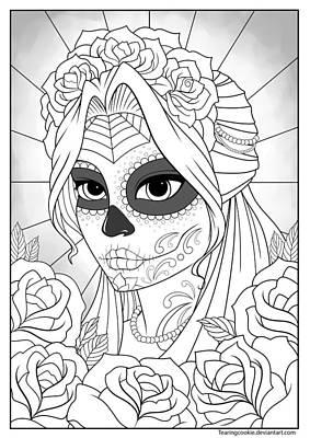 Sugar Skull Girl Poster by Tearing Cookie