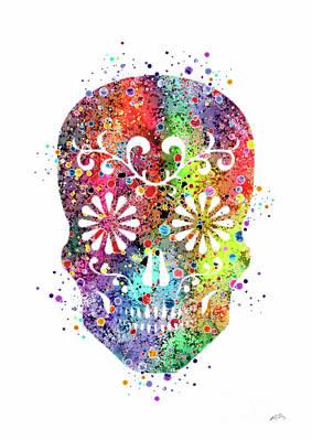 Sugar Skull Watercolor Print Poster