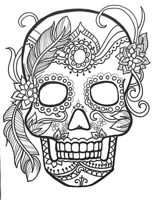 Sugar Skulls Black And White Series Poster