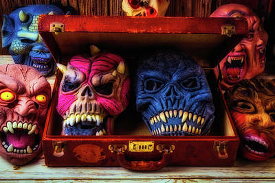 Suitcase Full Of Masks Poster by Garry Gay
