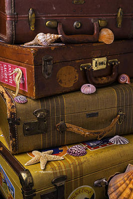 Suitcases With Seashells Poster