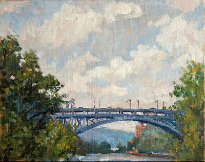 Summer Clouds Henry Hudson Bridge From Inwood Nyc Poster by Thor Wickstrom