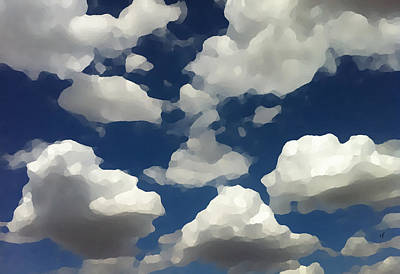 Poster featuring the digital art Summer Clouds In A Blue Sky by Shelli Fitzpatrick