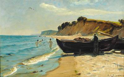 Summer Day At The Beach With Bathing Boys And Fishing In A Boat Poster