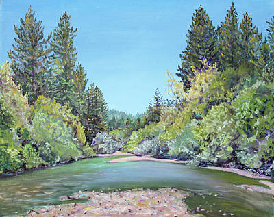 Summer Day On The Gualala River Poster by Asha Carolyn Young
