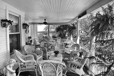 Summer Day On The Victorian Veranda Bw 01 Poster