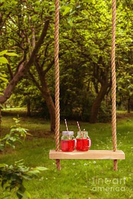 Summer Drinks On Swing Poster by Amanda Elwell