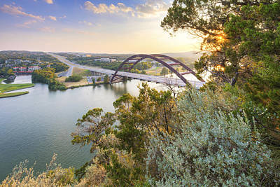 Summer Evening At The 360 Bridge Near Austin Texas Poster by Rob Greebon