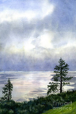 Summer Evening Clouds Over Bay With Trees Poster by Sharon Freeman