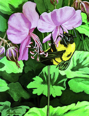 Poster featuring the painting Summer Garden Bumblebee And Flowers Nature Painting by Linda Apple