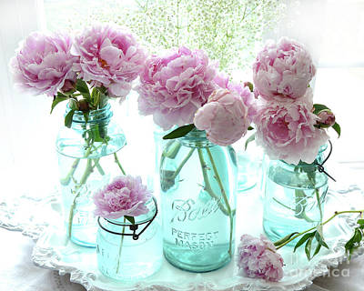 Garden Peonies In Blue Aqua Mason Ball Jars - Cottage Shabby Chic Peonies Print And Home Decor Poster