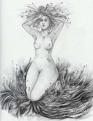 Poster featuring the drawing Summer II by Anna  Duyunova
