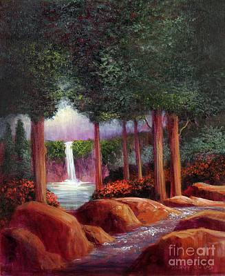 Poster featuring the painting Summer In The Garden Of Eden by Randol Burns