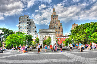 Summer In Washington Square Park Poster by Randy Aveille