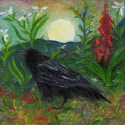 Summer Moon Raven Poster