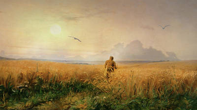 Summer Morning In The Rye Field Poster