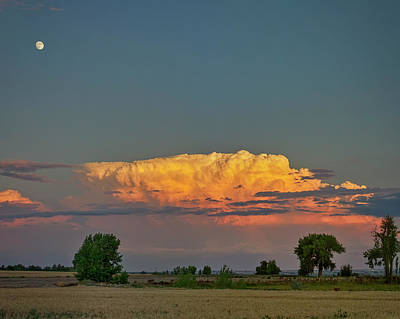 Poster featuring the photograph Summer Night Storms Brewing And Moon Above by James BO Insogna
