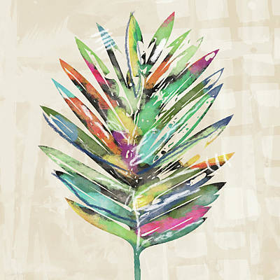 Poster featuring the mixed media Summer Palm Leaf- Art By Linda Woods by Linda Woods