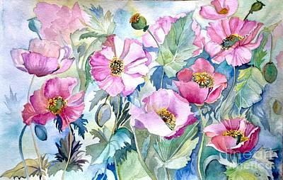Poster featuring the painting Summer Poppies by Iya Carson