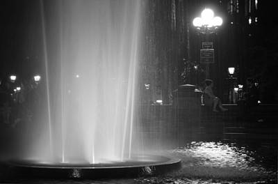 Summer Romance - Washington Square Park Fountain At Night Poster by Vivienne Gucwa