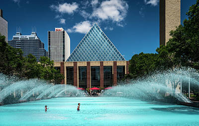 Poster featuring the photograph Summer Splash Downtown Edmonton by Darcy Michaelchuk