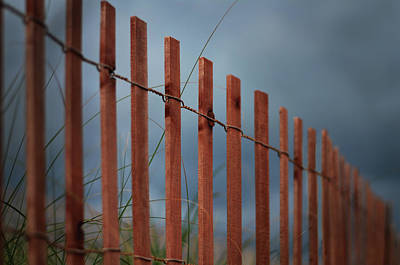 Poster featuring the photograph Summer Storm Beach Fence by Laura Fasulo