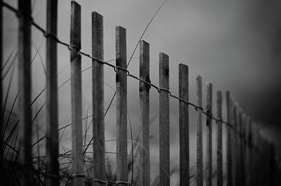 Poster featuring the photograph Summer Storm Beach Fence Mono by Laura Fasulo