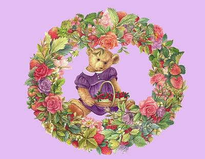 Summer Teddy Bear With Roses Poster