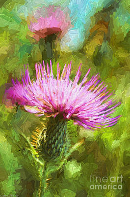 Summer Thistle - Digital Paint Poster by Debbie Portwood