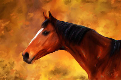 Summers End Quarter Horse Painting Poster