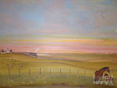Summer's Prairie Sunset Poster by Patti Lennox