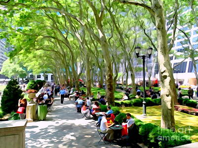 Summertime In Bryant Park Poster by Ed Weidman