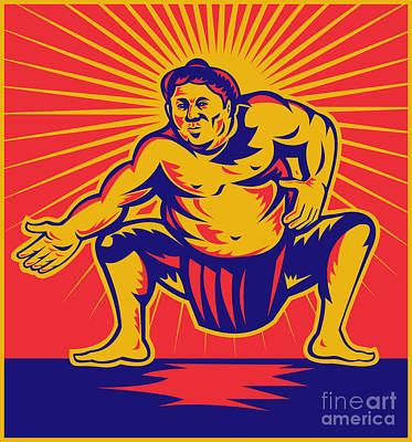 Sumo Wrestler Crouching Retro Woodcut Poster