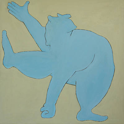 Poster featuring the painting Sumo Wrestler In Blue by Ben Gertsberg