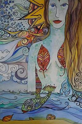 Sun And Sea Godess Poster by Claudia Cole Meek