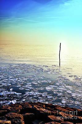 Sun Going Down In Calm Frozen Lake Poster