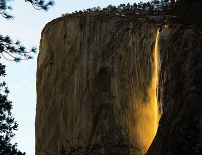 Sun Illuminates Horsetail Falls In Yosemite National Park Poster by Tran Boelsterli