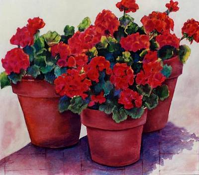 Poster featuring the painting Sun-kissed Geraniums by Ann Peck