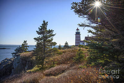 Sun Over West Quoddy Head Lighthouse Poster