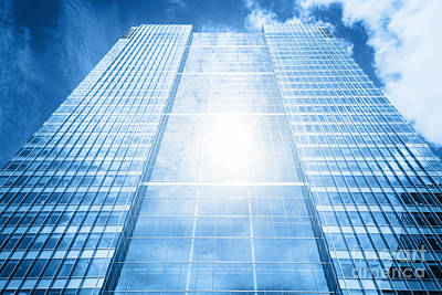 Sun Reflecting In Modern Business Skyscraper, High-rise Building Poster