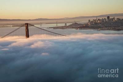 Poster featuring the photograph Sun Rise At Golden Gate Bridge by David Bearden